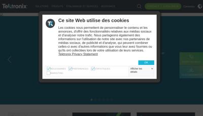 Capture d'écran du site de Tektronix