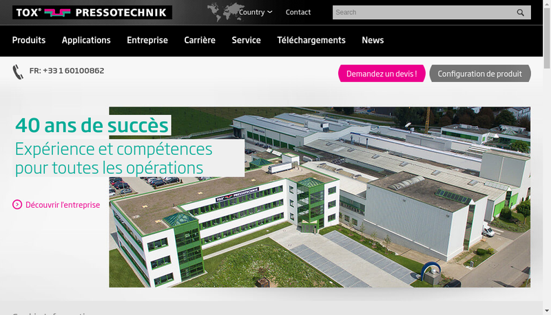 Capture d'écran du site de Tox Pressotechnik
