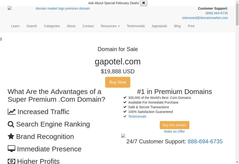 Capture d'écran du site de Gapotel