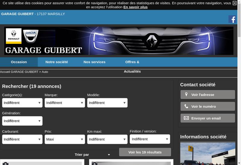 Capture d'écran du site de Garage Guibert