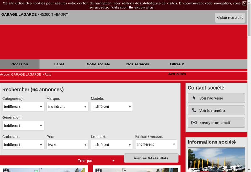 Capture d'écran du site de Lagarde Pere et Fils