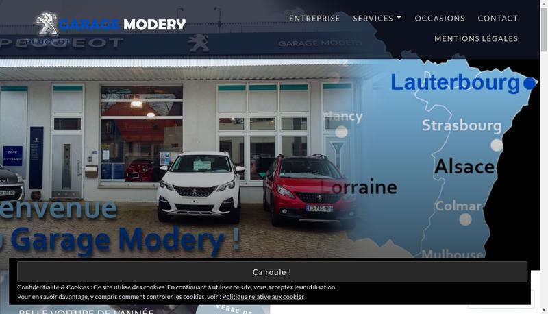 Capture d'écran du site de Modery