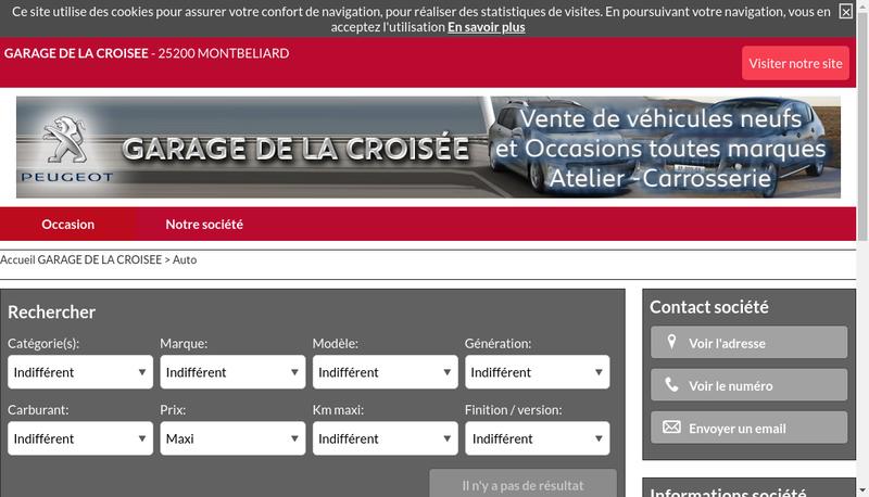 Capture d'écran du site de Garage de la Croisee