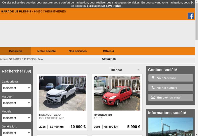 Capture d'écran du site de Garage le Plessis