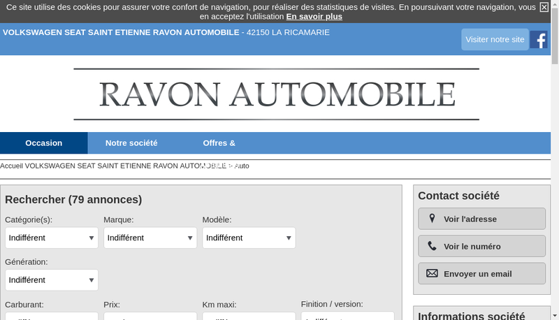 Capture d'écran du site de Garage Jacques Ravon
