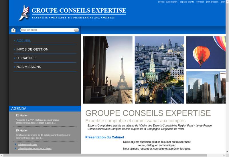 Capture d'écran du site de Groupe Conseils Expertise