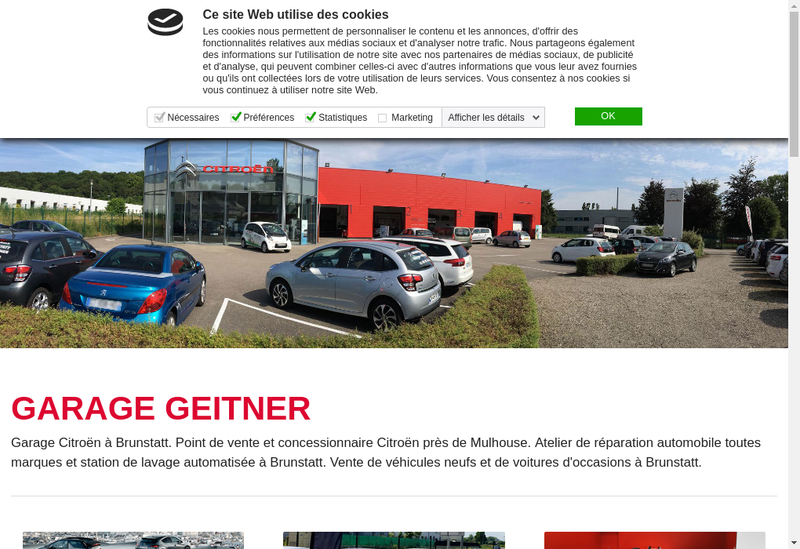 Capture d'écran du site de Garage Geitner