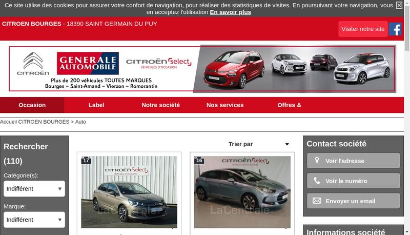 Capture d'écran du site de Gale Auto
