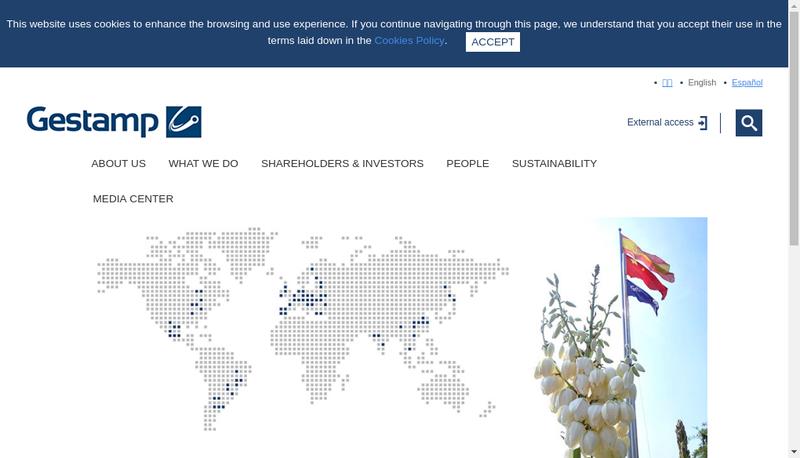 Capture d'écran du site de Gestamp Ronchamp