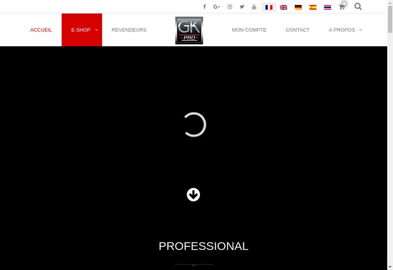 Capture d'écran du site de Gk Pro Uniform