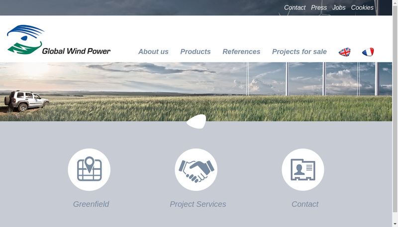 Capture d'écran du site de Global Wind Power France