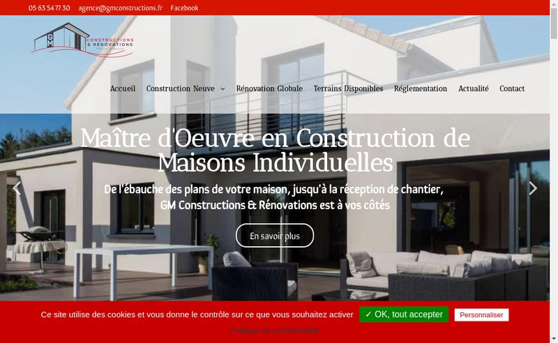 Capture d'écran du site de Gm Constructions et Renovations