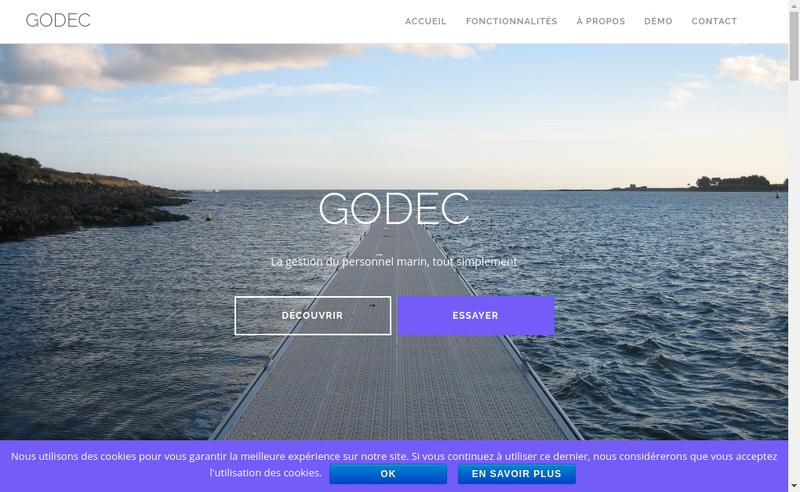 Capture d'écran du site de Godec