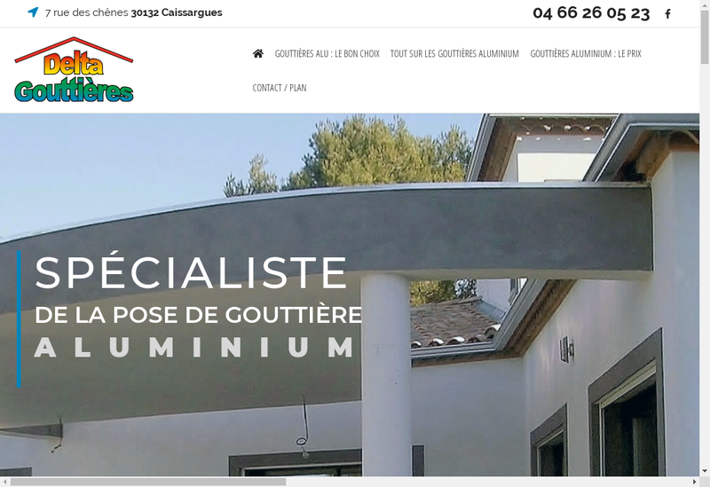 Capture d'écran du site de Delta Gouttieres