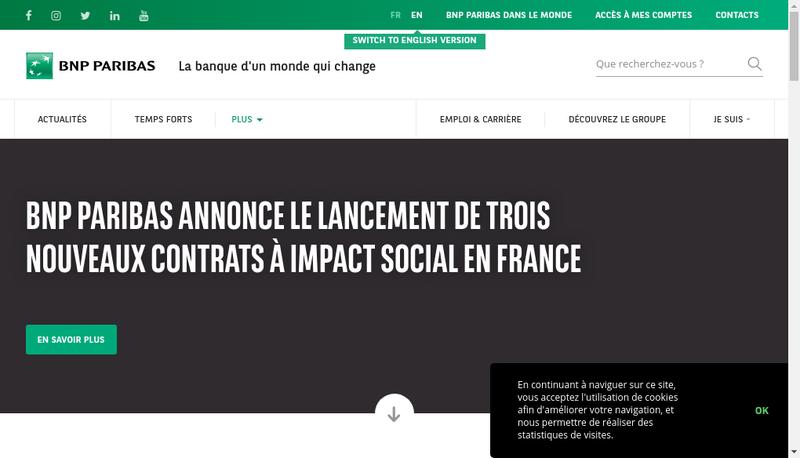 Capture d'écran du site de BNP Paribas