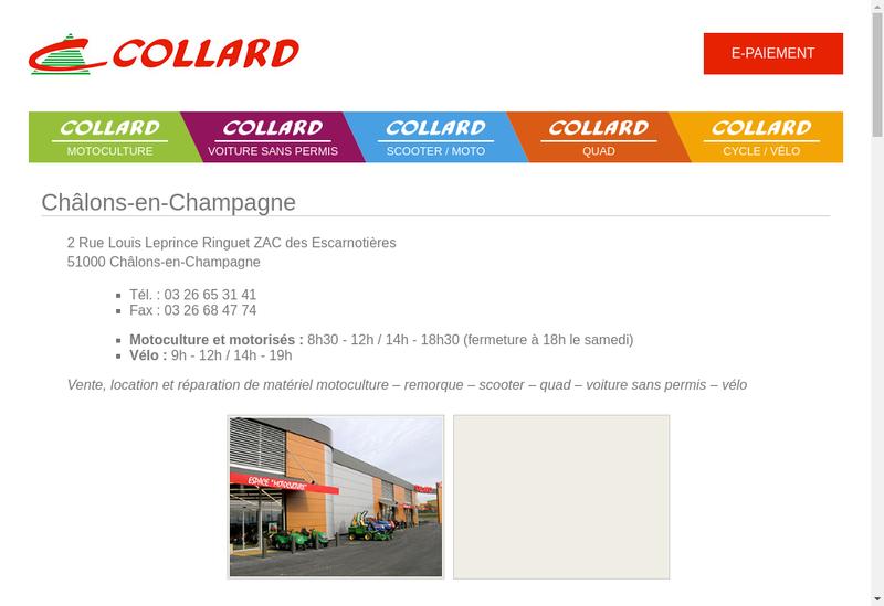 Capture d'écran du site de Collard et Fils SA