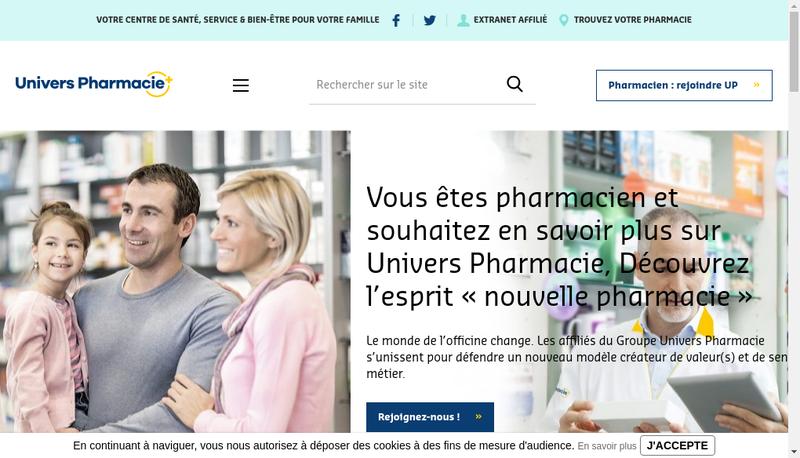 Capture d'écran du site de Univers Pharmacie