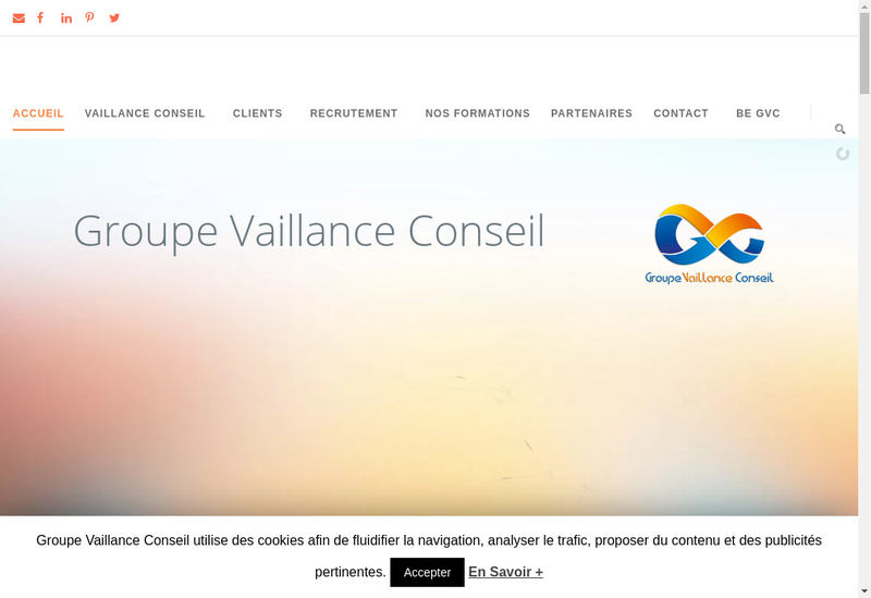 Capture d'écran du site de Vaillance Conseil