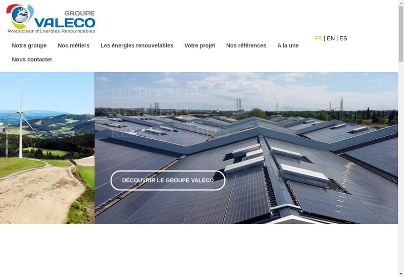 Capture d'écran du site de Valeco