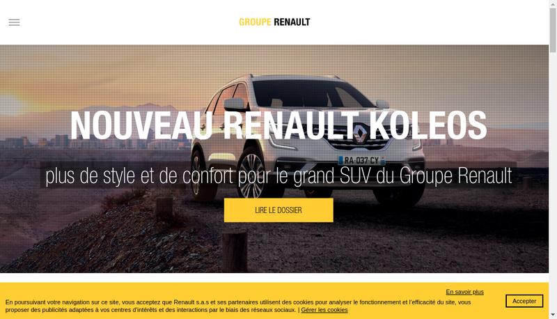 Capture d'écran du site de Renault SAS