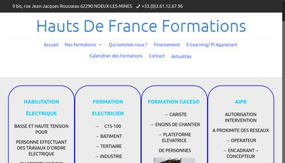 Site internet de Hauts de France Formations