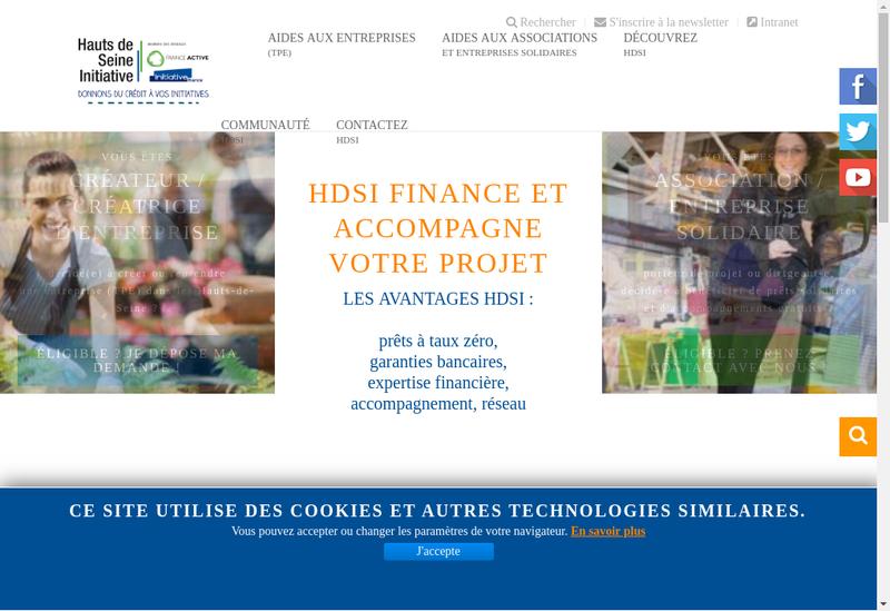 Capture d'écran du site de HDSI
