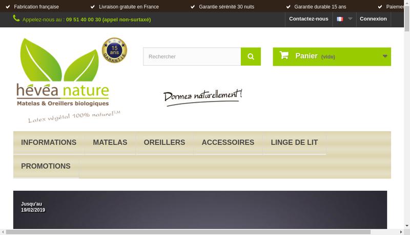 Capture d'écran du site de Hevea Nature