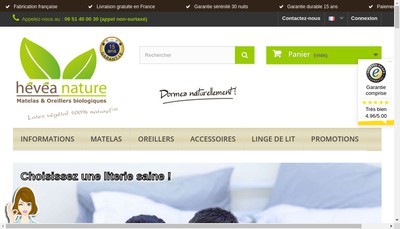 Site internet de Hevea Nature