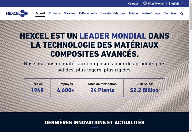 Capture d'écran du site de Hexcel Composites