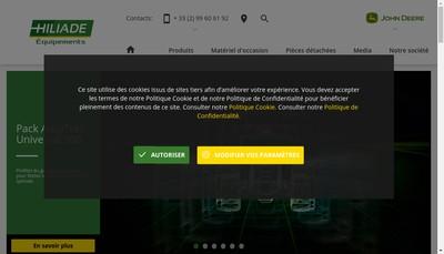 Site internet de Hiliade Equipements