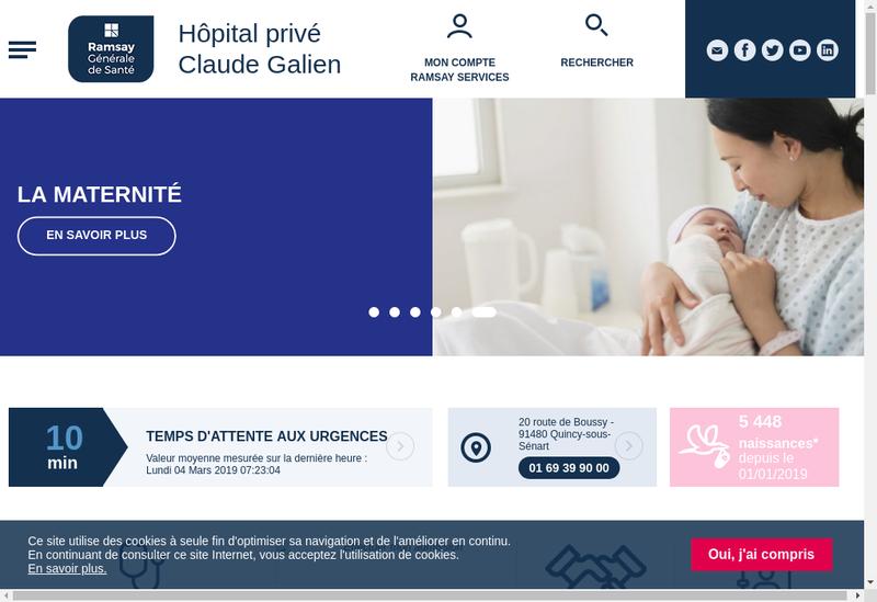 Capture d'écran du site de Hopital Prive Claude Galien
