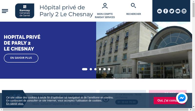 Capture d'écran du site de Hopital Prive de Parly Ii