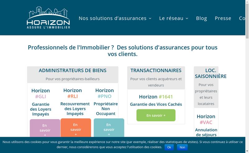 Capture d'écran du site de Horizon Assurances