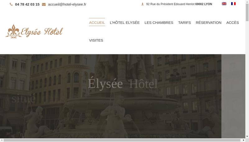 Capture d'écran du site de Elysee Hotel