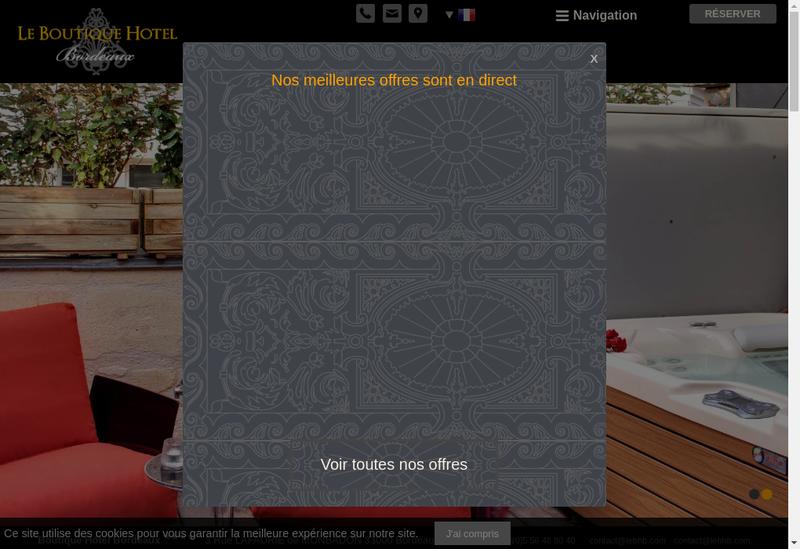 Capture d'écran du site de Le Boutique Hotel Bordeaux