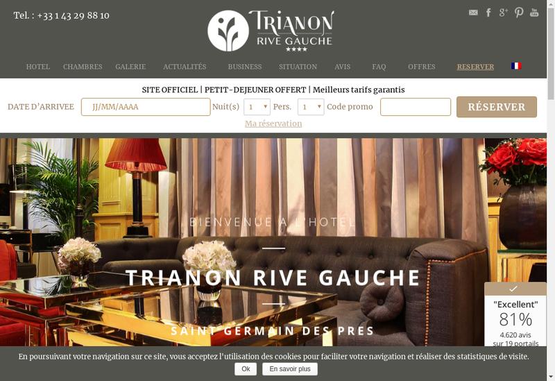 Capture d'écran du site de Trianon Rive Gauche Hotel