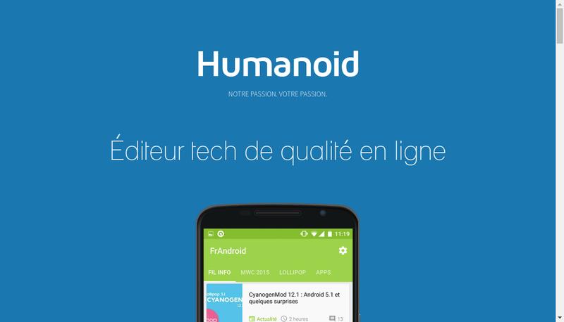 Capture d'écran du site de Humanoid