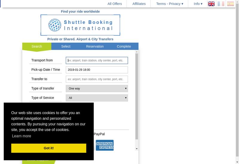 Capture d'écran du site de Shuttle Booking International
