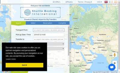 Site internet de Shuttle Booking International