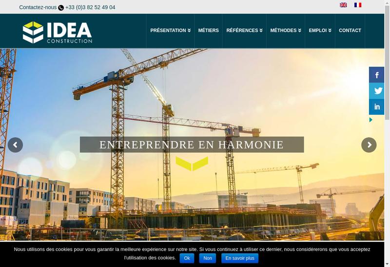 Capture d'écran du site de Idea Construction