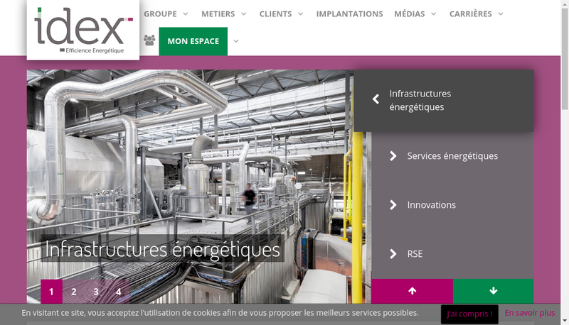 Capture d'écran du site de Idex Aquaservices