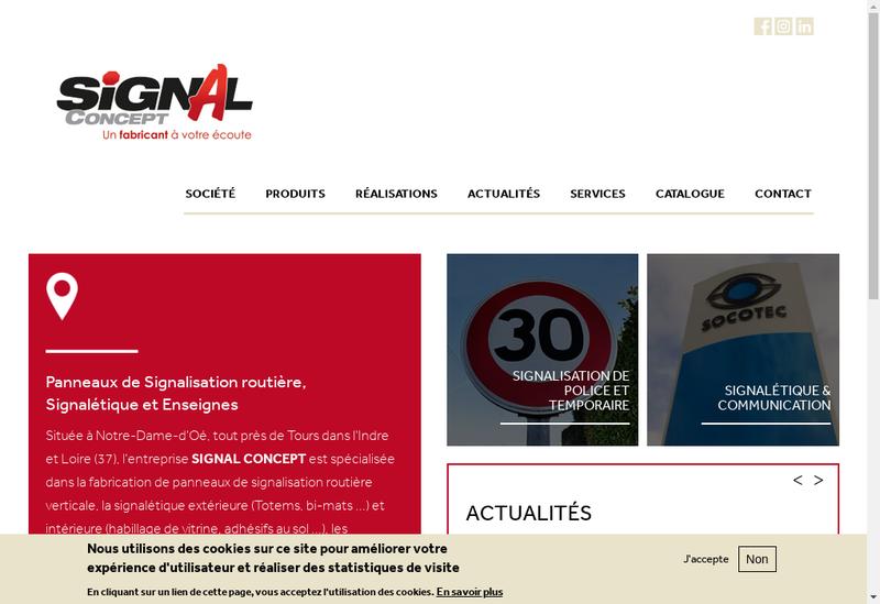 Capture d'écran du site de Signal Concept SARL