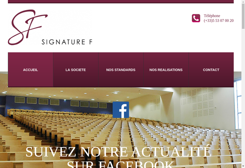 Capture d'écran du site de Signature F