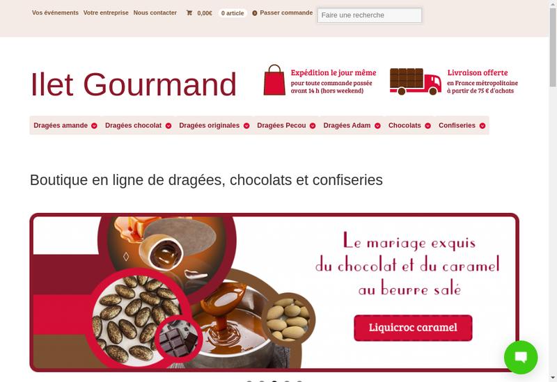 Capture d'écran du site de Ilet Gourmand