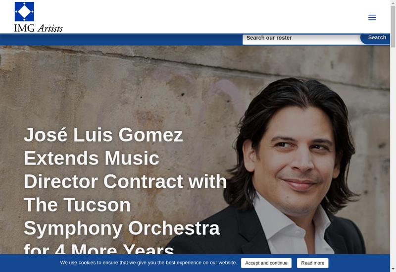 Capture d'écran du site de Img Artists