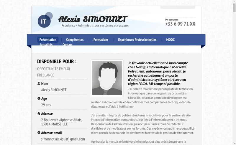 Capture d'écran du site de Alexis Simonnet