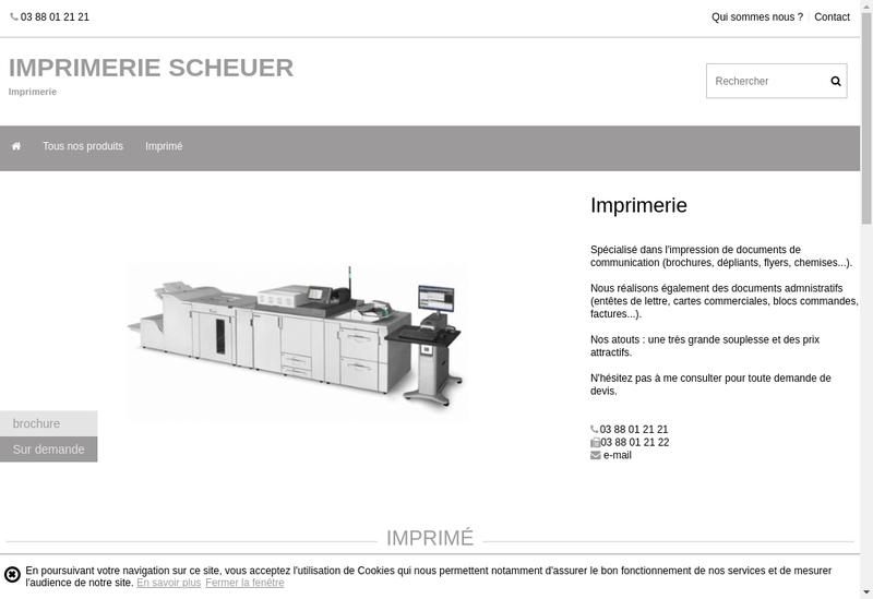Capture d'écran du site de Imprimerie Scheuer