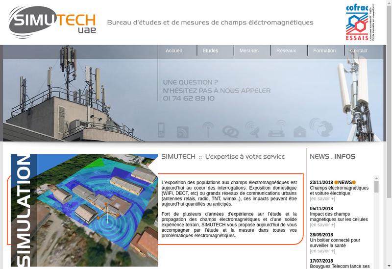 Capture d'écran du site de Simutech Uae