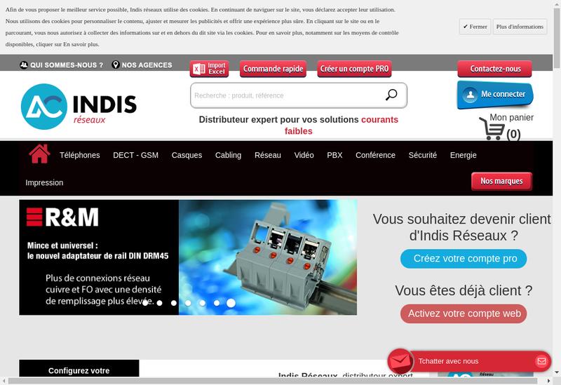 Capture d'écran du site de Indis Reseaux