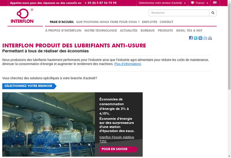 Capture d'écran du site de Interflon France